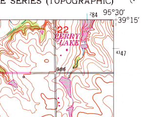 Reduced fragment of topographic map en--usgs--024k--028838--(1952)--N039-15-00_W095-37-30--N039-07-30_W095-30-00; towns and cities Meriden