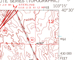 Reduced fragment of topographic map en--usgs--024k--028850--(1951)--N040-30-00_W103-22-30--N040-22-30_W103-15-00; towns and cities Merino