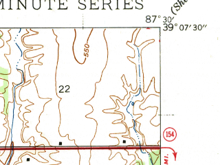 Reduced fragment of topographic map en--usgs--024k--028861--(1943)--N039-07-30_W087-37-30--N039-00-00_W087-30-00; towns and cities Merom, Palestine