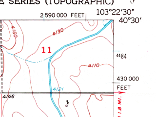 Reduced fragment of topographic map en--usgs--024k--028956--(1951)--N040-30-00_W103-30-00--N040-22-30_W103-22-30