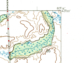 Reduced fragment of topographic map en--usgs--024k--028967--(1946)--N043-00-00_W083-22-30--N042-52-30_W083-15-00; towns and cities Metamora