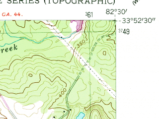 Reduced fragment of topographic map en--usgs--024k--028970--(1954)--N033-52-30_W082-37-30--N033-45-00_W082-30-00