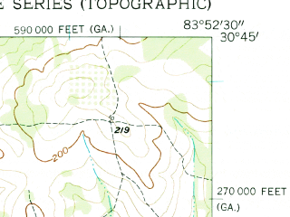 Reduced fragment of topographic map en--usgs--024k--028971--(1956)--N030-45-00_W084-00-00--N030-37-30_W083-52-30