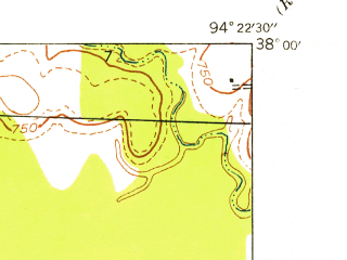 Reduced fragment of topographic map en--usgs--024k--028985--(1938)--N038-00-00_W094-30-00--N037-52-30_W094-22-30; towns and cities Metz