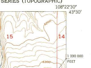 Reduced fragment of topographic map en--usgs--024k--029004--(1951)--N043-30-00_W108-30-00--N043-22-30_W108-22-30