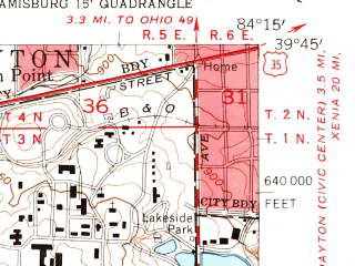 Reduced fragment of topographic map en--usgs--024k--029029--(1955)--N039-45-00_W084-22-30--N039-37-30_W084-15-00; towns and cities Miamisburg, West Carrollton City, Drexel, Germantown