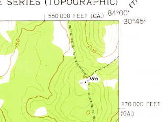 Reduced fragment of topographic map en--usgs--024k--029038--(1957)--N030-45-00_W084-07-30--N030-37-30_W084-00-00 in area of Foshalee Lake, Thompson Pond