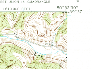 Reduced fragment of topographic map en--usgs--024k--029097--(1960)--N039-30-00_W081-00-00--N039-22-30_W080-52-30; towns and cities Middlebourne
