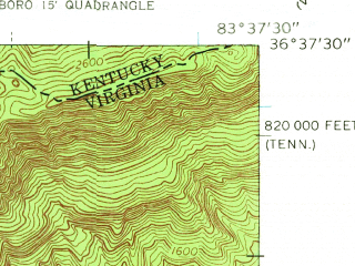 Reduced fragment of topographic map en--usgs--024k--029108--(1959)--N036-37-30_W083-45-00--N036-30-00_W083-37-30; towns and cities Middlesborough, Shawanee, Cumberland Gap