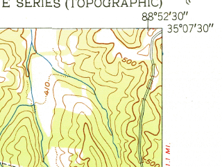 Reduced fragment of topographic map en--usgs--024k--029116--(1951)--N035-07-30_W089-00-00--N035-00-00_W088-52-30; towns and cities Middleton