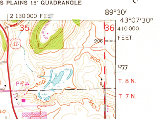Reduced fragment of topographic map en--usgs--024k--029117--(1962)--N043-07-30_W089-37-30--N043-00-00_W089-30-00; towns and cities Middleton