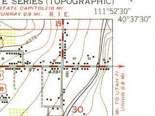 Reduced fragment of topographic map en--usgs--024k--029161--(1951)--N040-37-30_W112-00-00--N040-30-00_W111-52-30; towns and cities West Jordan, Midvale, Riverton, South Jordan