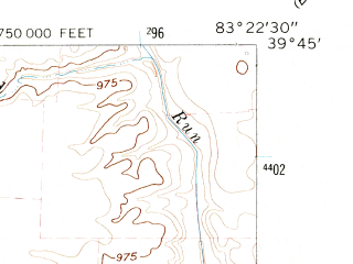 Reduced fragment of topographic map en--usgs--024k--029172--(1961)--N039-45-00_W083-30-00--N039-37-30_W083-22-30; towns and cities Midway