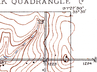 Reduced fragment of topographic map en--usgs--024k--029193--(1934)--N035-30-00_W097-30-00--N035-22-30_W097-22-30; towns and cities Del City, Smith Village, Valley Brook