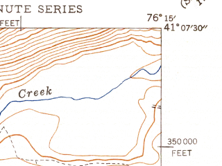 Reduced fragment of topographic map en--usgs--024k--029199--(1947)--N041-07-30_W076-22-30--N041-00-00_W076-15-00; towns and cities Briar Creek, Lime Ridge, Mifflinville