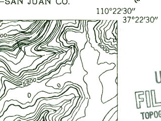 Reduced fragment of topographic map en--usgs--024k--029205--(1954)--N037-22-30_W110-30-00--N037-15-00_W110-22-30