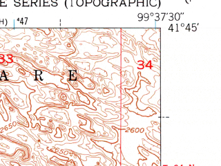 Reduced fragment of topographic map en--usgs--024k--029234--(1951)--N041-45-00_W099-45-00--N041-37-30_W099-37-30