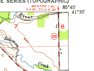 Reduced fragment of topographic map en--usgs--024k--029257--(1951)--N041-30-00_W085-52-30--N041-22-30_W085-45-00; towns and cities Milford