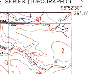 Reduced fragment of topographic map en--usgs--024k--029261--(1951)--N039-15-00_W097-00-00--N039-07-30_W096-52-30; towns and cities Milford