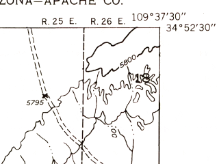 Reduced fragment of topographic map en--usgs--024k--029278--(1955)--N034-52-30_W109-45-00--N034-45-00_W109-37-30