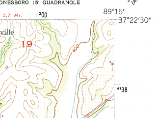Reduced fragment of topographic map en--usgs--024k--029284--(1947)--N037-22-30_W089-22-30--N037-15-00_W089-15-00; towns and cities Mill Creek