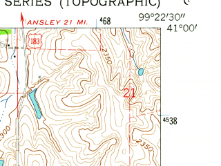 Reduced fragment of topographic map en--usgs--024k--029313--(1962)--N041-00-00_W099-30-00--N040-52-30_W099-22-30; towns and cities Miller