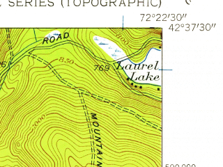 Reduced fragment of topographic map en--usgs--024k--029349--(1948)--N042-37-30_W072-30-00--N042-30-00_W072-22-30; towns and cities Millers Falls