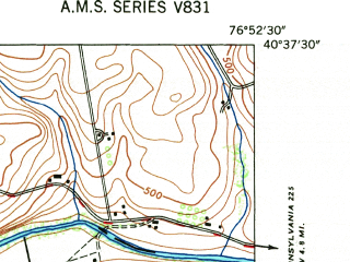 Reduced fragment of topographic map en--usgs--024k--029355--(1947)--N040-37-30_W077-00-00--N040-30-00_W076-52-30; towns and cities Liverpool, Millersburg