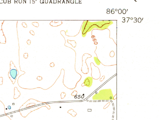 Reduced fragment of topographic map en--usgs--024k--029364--(1954)--N037-30-00_W086-07-30--N037-22-30_W086-00-00