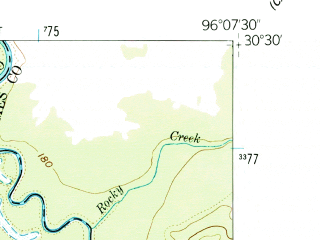 Reduced fragment of topographic map en--usgs--024k--029386--(1959)--N030-30-00_W096-15-00--N030-22-30_W096-07-30