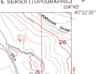 Reduced fragment of topographic map en--usgs--024k--029394--(1951)--N040-22-30_W104-52-30--N040-15-00_W104-45-00; towns and cities Gilcrest, Milliken