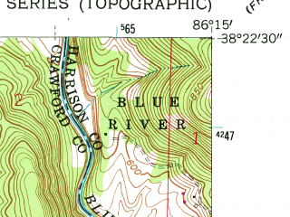 Reduced fragment of topographic map en--usgs--024k--029422--(1962)--N038-22-30_W086-22-30--N038-15-00_W086-15-00; towns and cities Marengo, Milltown