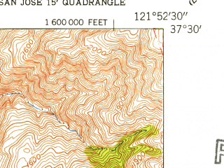 Reduced fragment of topographic map en--usgs--024k--029447--(1953)--N037-30-00_W122-00-00--N037-22-30_W121-52-30; towns and cities Milpitas