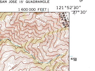 Reduced fragment of topographic map en--usgs--024k--029447--(1961)--N037-30-00_W122-00-00--N037-22-30_W121-52-30; towns and cities Milpitas