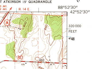 Reduced fragment of topographic map en--usgs--024k--029458--(1961)--N042-52-30_W089-00-00--N042-45-00_W088-52-30; towns and cities Milton