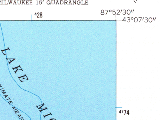 Reduced fragment of topographic map en--usgs--024k--029472--(1958)--N043-07-30_W088-00-00--N043-00-00_W087-52-30; towns and cities Milwaukee, Shorewood, Whitefish Bay, West Milwaukee