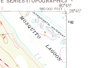 Reduced fragment of topographic map en--usgs--024k--029473--(1949)--N028-45-00_W080-52-30--N028-37-30_W080-45-00; towns and cities Mims
