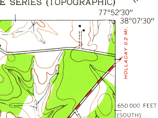 Reduced fragment of topographic map en--usgs--024k--029502--(1942)--N038-07-30_W078-00-00--N038-00-00_W077-52-30; towns and cities Louisa, Mineral