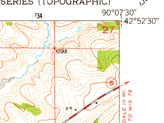 Reduced fragment of topographic map en--usgs--024k--029520--(1952)--N042-52-30_W090-15-00--N042-45-00_W090-07-30; towns and cities Mineral Point