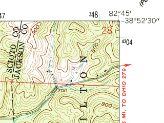 Reduced fragment of topographic map en--usgs--024k--029541--(1961)--N038-52-30_W082-52-30--N038-45-00_W082-45-00; towns and cities Sciotodale