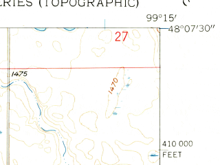 Reduced fragment of topographic map en--usgs--024k--029571--(1958)--N048-07-30_W099-22-30--N048-00-00_W099-15-00; towns and cities Minnewaukan