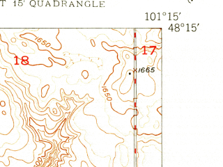 Reduced fragment of topographic map en--usgs--024k--029584--(1949)--N048-15-00_W101-22-30--N048-07-30_W101-15-00; towns and cities Minot