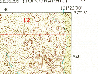 Reduced fragment of topographic map en--usgs--024k--029637--(1955)--N037-15-00_W121-30-00--N037-07-30_W121-22-30