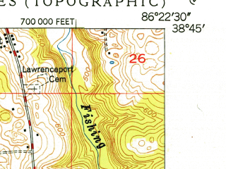 Reduced fragment of topographic map en--usgs--024k--029651--(1950)--N038-45-00_W086-30-00--N038-37-30_W086-22-30; towns and cities Mitchell, Orleans