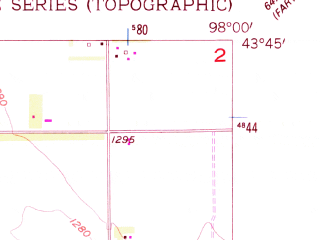 Reduced fragment of topographic map en--usgs--024k--029653--(1957)--N043-45-00_W098-07-30--N043-37-30_W098-00-00; towns and cities Mitchell