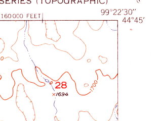 Reduced fragment of topographic map en--usgs--024k--029667--(1950)--N044-45-00_W099-30-00--N044-37-30_W099-22-30