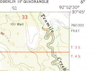 Reduced fragment of topographic map en--usgs--024k--029680--(1961)--N030-45-00_W093-00-00--N030-37-30_W092-52-30
