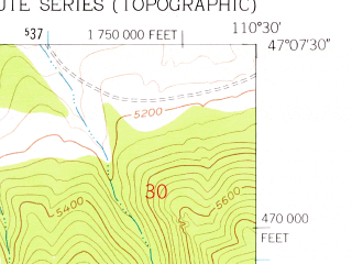 Reduced fragment of topographic map en--usgs--024k--029681--(1961)--N047-07-30_W110-37-30--N047-00-00_W110-30-00