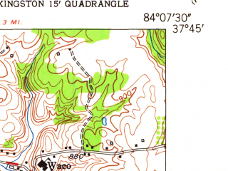 Reduced fragment of topographic map en--usgs--024k--029696--(1954)--N037-45-00_W084-15-00--N037-37-30_W084-07-30