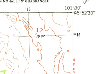 Reduced fragment of topographic map en--usgs--024k--029751--(1948)--N048-52-30_W101-37-30--N048-45-00_W101-30-00; towns and cities Loraine, Mohall